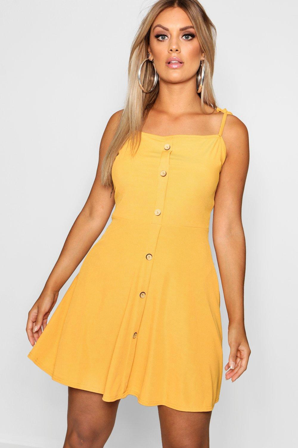 70d2841add Boohoo Plus Button Down Tie Strap Skater Dress in Yellow - Lyst