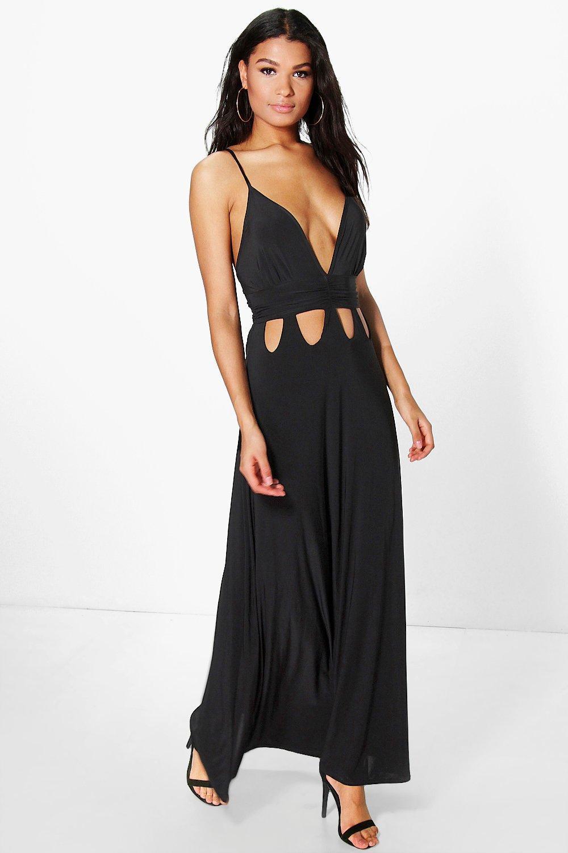 d0cd39e97bfa5b Boohoo Ari Gathered Waist Cut Out Detail Slinky Maxi Dress in Black ...