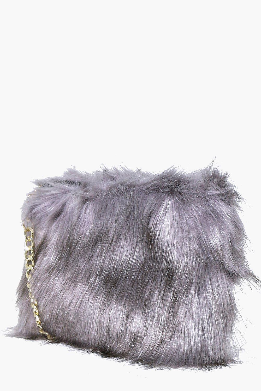 Lyst - Boohoo Mia Faux Fur Cross Body Bag in Gray 680bce459aa36