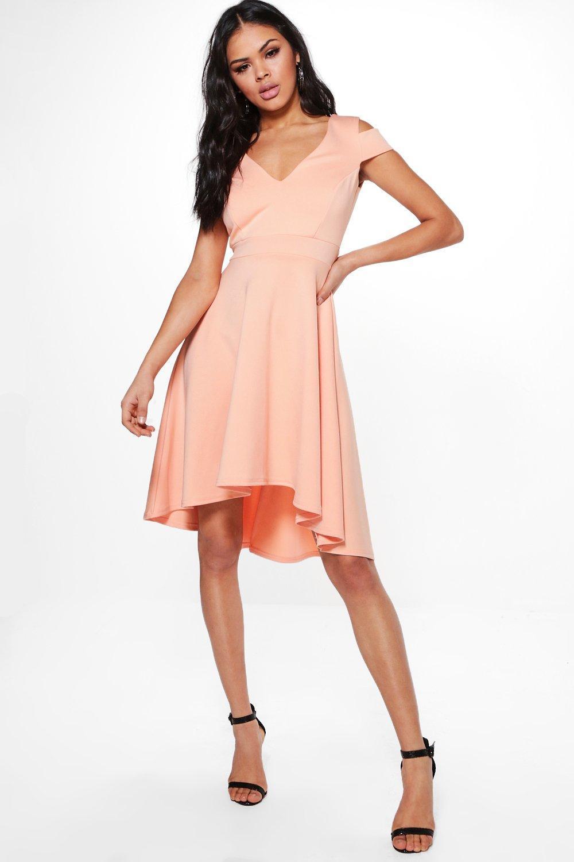 Lyst - Boohoo Clea Bardot Plunge Skater Dress in Orange 735d298f0