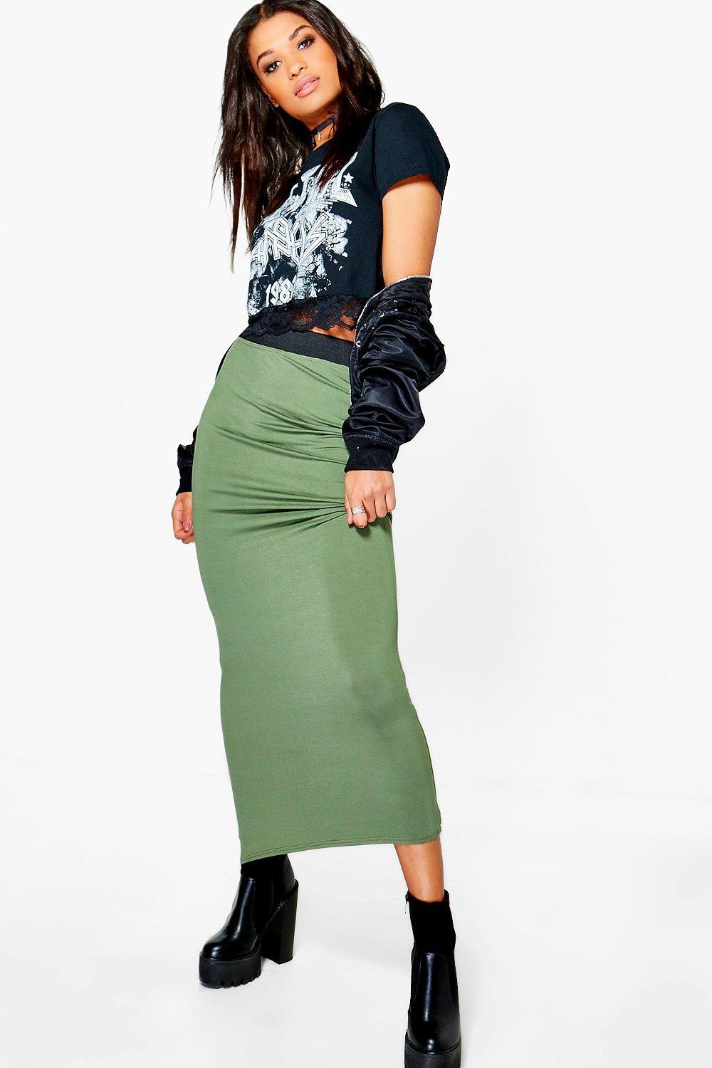 53c90739c8 Lyst - Boohoo Helena Contrast Waistband Jersey Maxi Skirt in Green