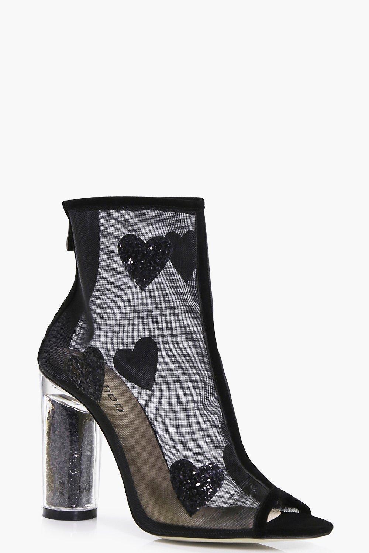 boohoo kara trim mesh shoe boot in black lyst