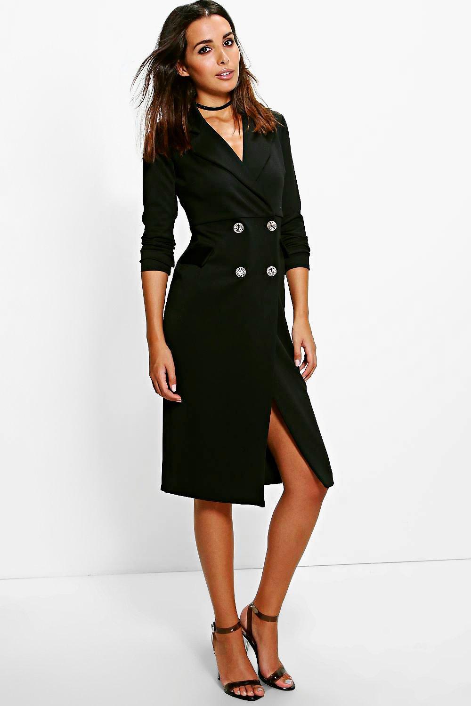 Boohoo Harriet Double Breasted Blazer Dress In Black Lyst