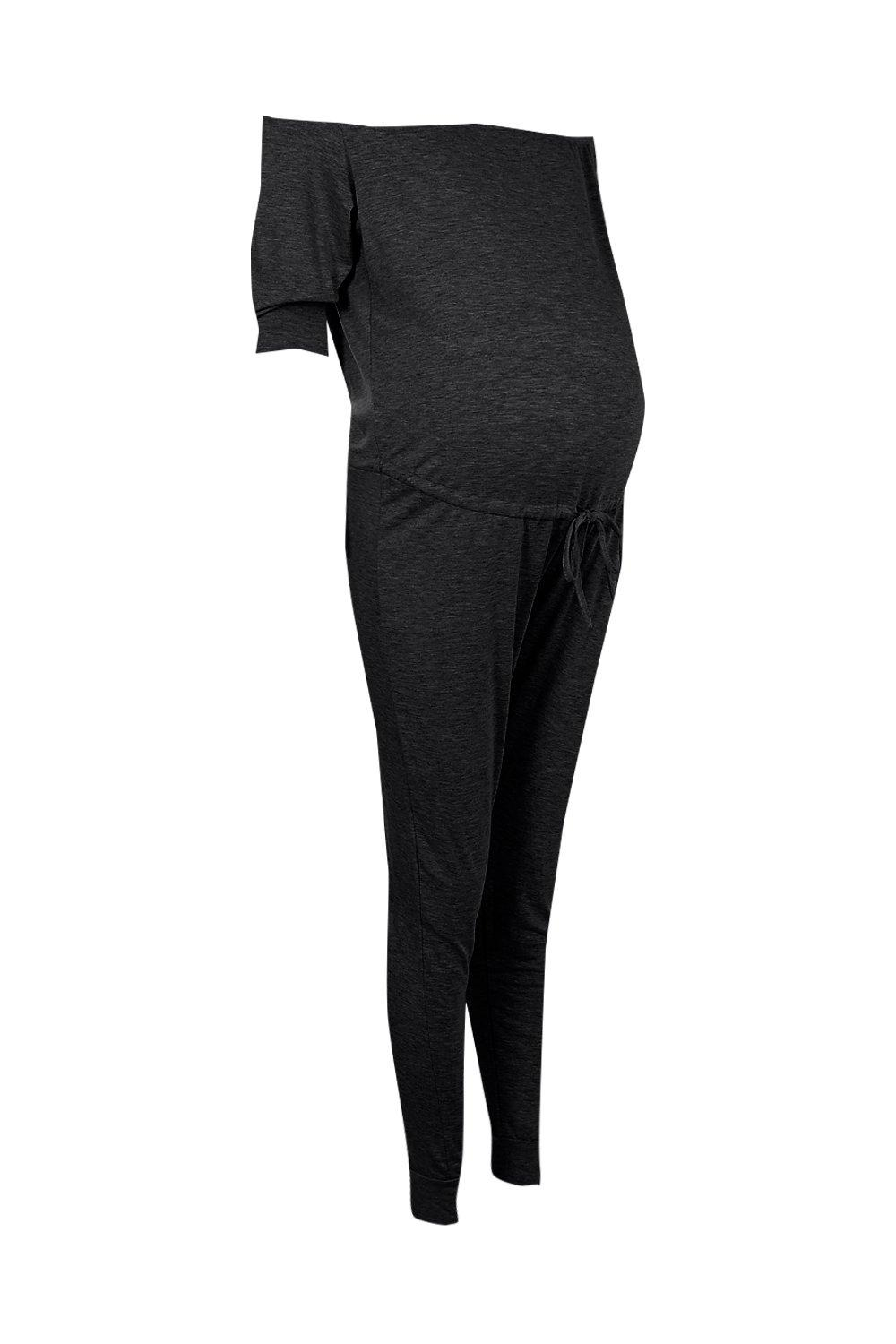 020f6551546 Lyst - Boohoo Maternity Ruby Off The Shoulder Lounge Jumpsuit in Black