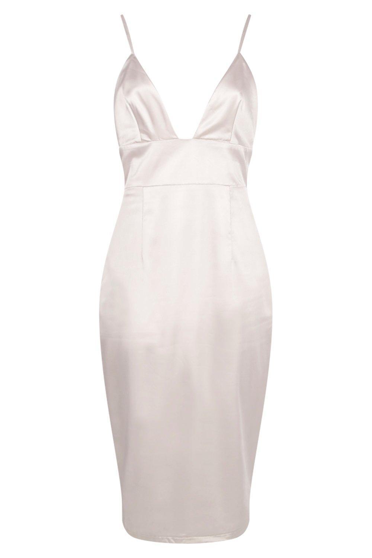 9b9dd0da81 Lyst - Boohoo Hillary Satin Strappy Plunge Bodycon Dress