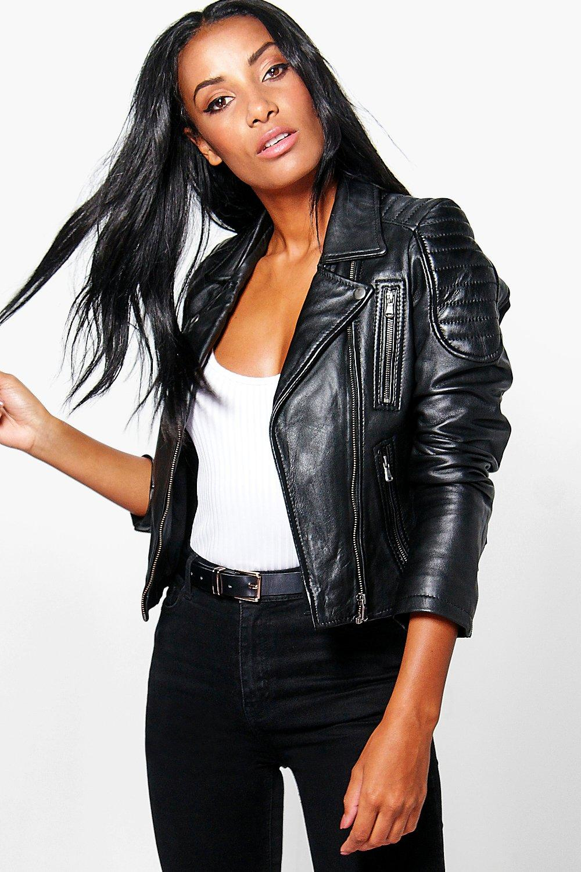 Leather jacket boohoo - Boohoo Women S Black Boutique Emily Zip Detail Leather Jacket