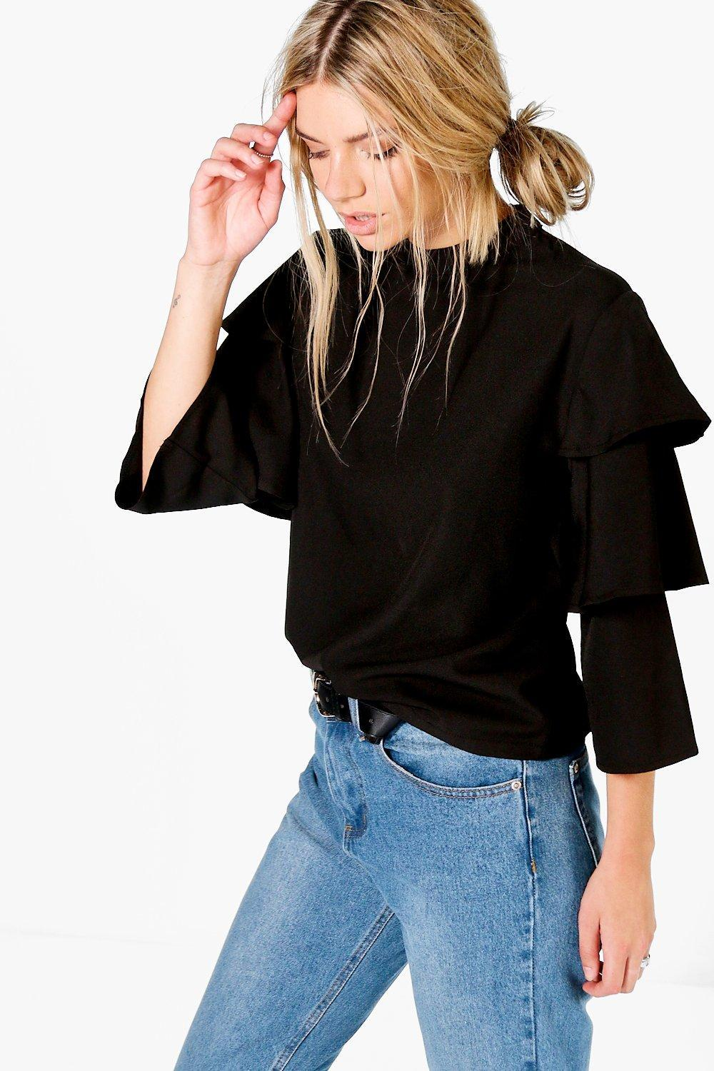 Boohoo Cara Tiered Sleeve High Neck Blouse in Black