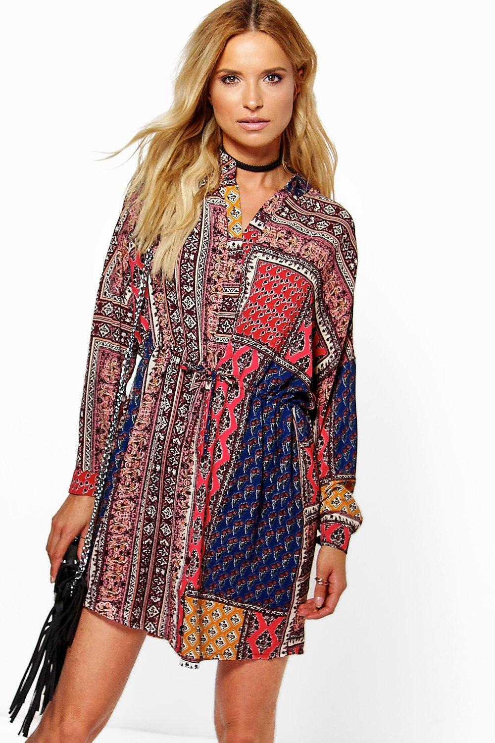 Lyst Boohoo Kerry Scarf Paisley Print Shirt Dress In Red
