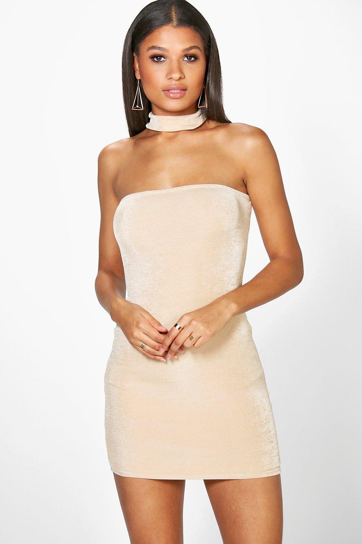 d2f677f28114 Boohoo Daria Textured Slinky Choker Bodycon Dress in Natural - Lyst