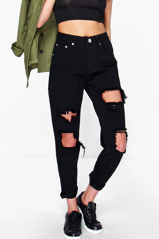 boohoo hatty high waist distress boyfriend jeans in black. Black Bedroom Furniture Sets. Home Design Ideas
