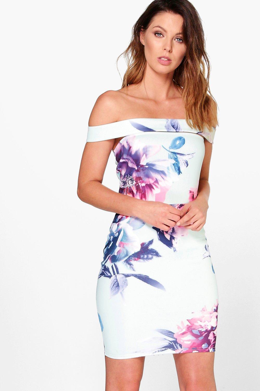 034af270782f floral off the shoulder bodycon dress