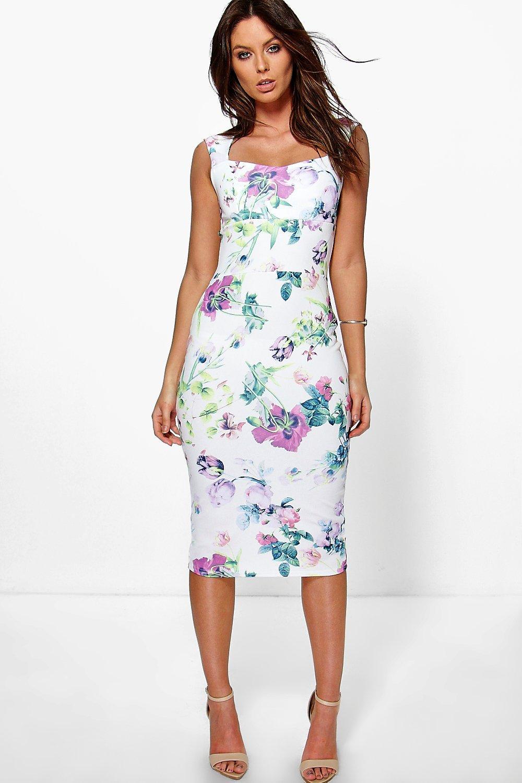d76e0f92c5a Boohoo Rosalinda Floral Sweetheart Midi Dress in White - Lyst