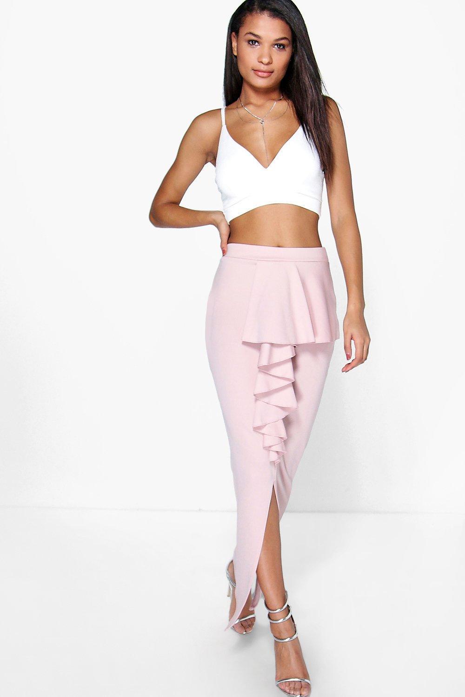 boohoo peplum front maxi skirt in pink lyst