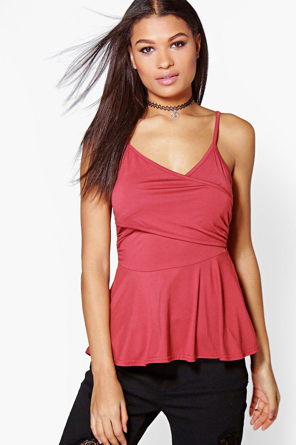Boohoo daisy wrap front peplum cami in red lyst for Adam lippes women s long sleeve vee t shirt