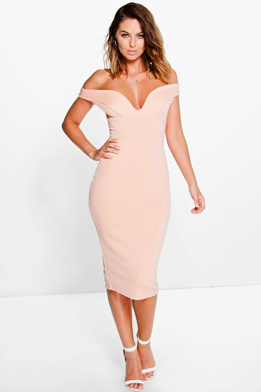 Dress midi sweetheart shoulder bodycon off brand boutique philadelphia