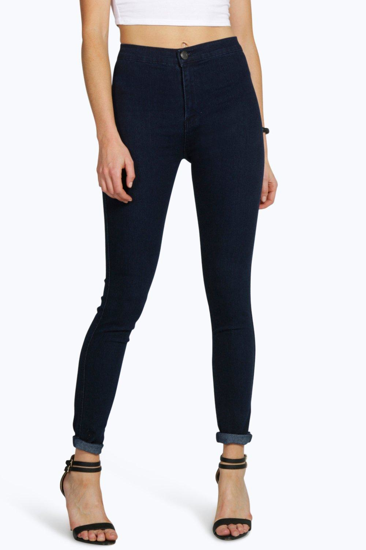 boohoo lara high rise skinny indigo tube jeans in blue lyst. Black Bedroom Furniture Sets. Home Design Ideas