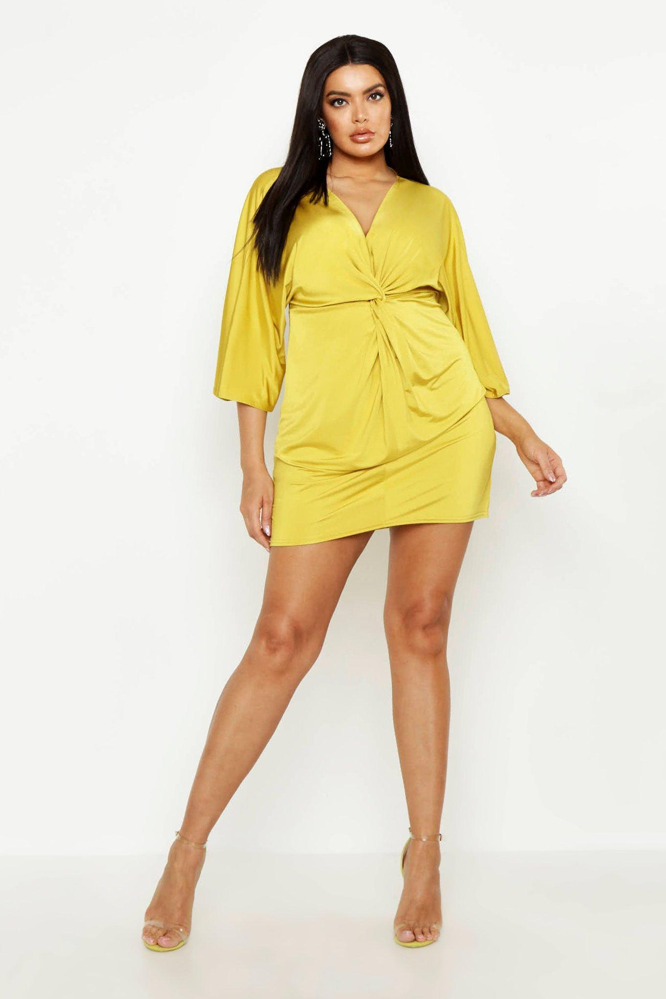 06344b3b242 Lyst - Boohoo Plus Knot Front Slinky Shirt Dress in Yellow