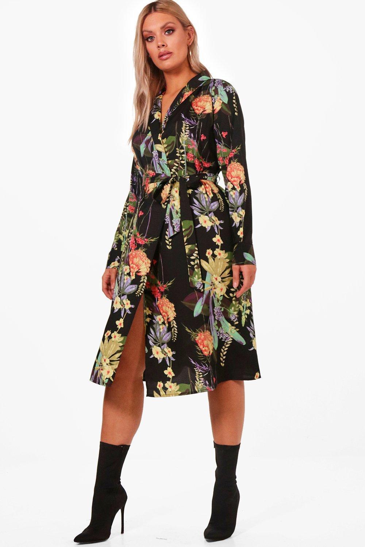 Boohoo. Women's Black Plus Annie Oriental Kimono Wrap Dress