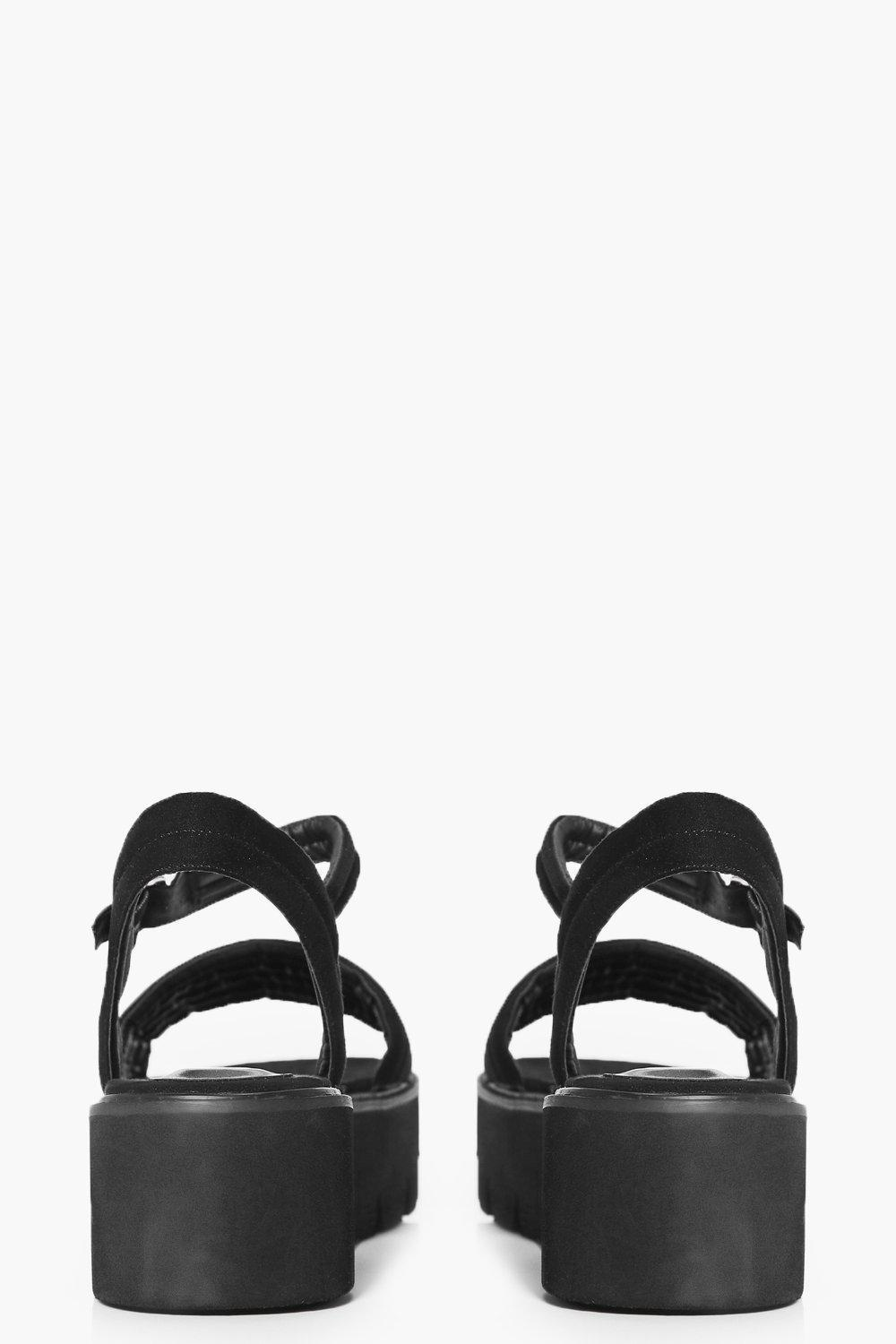 9ee35f08cae Boohoo Emma Quilted Two Part Cleated Sandal in Black