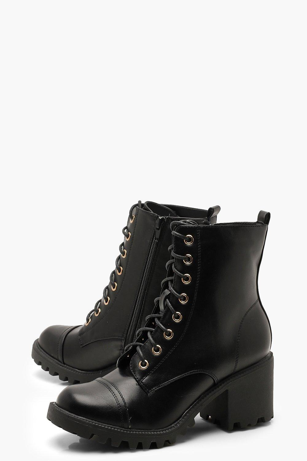 c8b42fc817 Boohoo Chunky Heel Lace Up Hiker Boots in Black - Lyst
