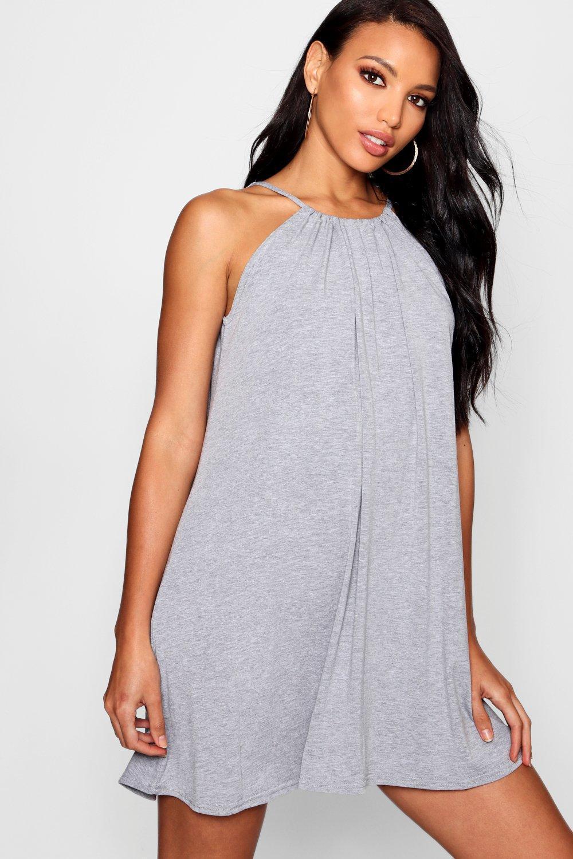 782c60e8dd75 Lyst - Boohoo Tie Neck Swing Dress in Gray