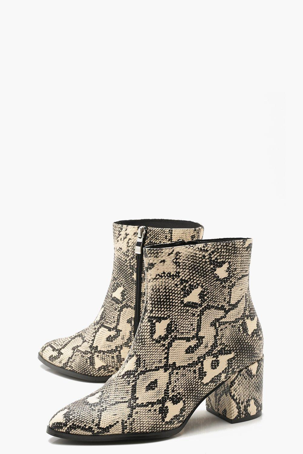 4e0576d35287 Lyst - Boohoo Wide Fit Block Heel Snake Shoe Boots in Natural