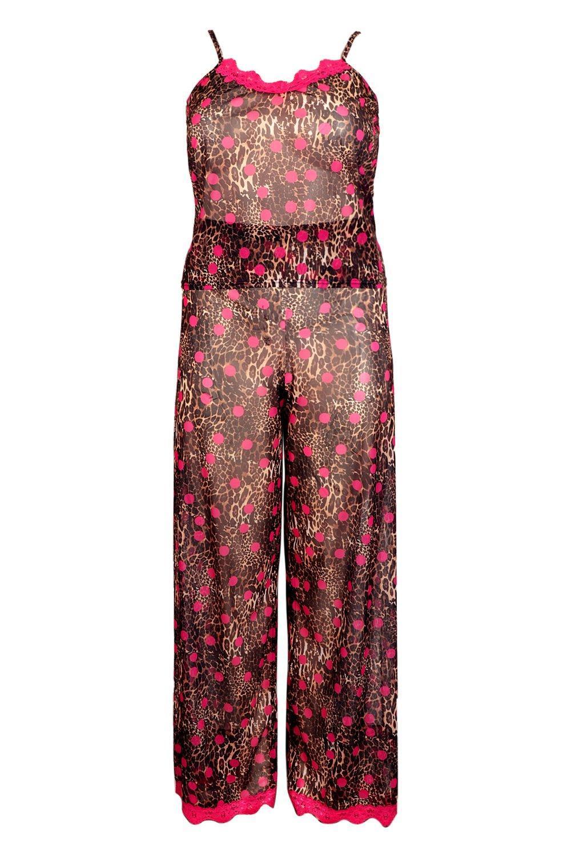 2783c61cdb46 ... Brown Plus Gemma Collins Chiffon Leopard Lace Trim Pj Set - Lyst. Visit  Boohoo. Tap to visit site