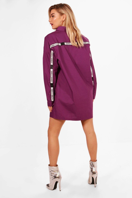Boohoo Slogan Tape Trim Shirt Dress in Purple - Lyst
