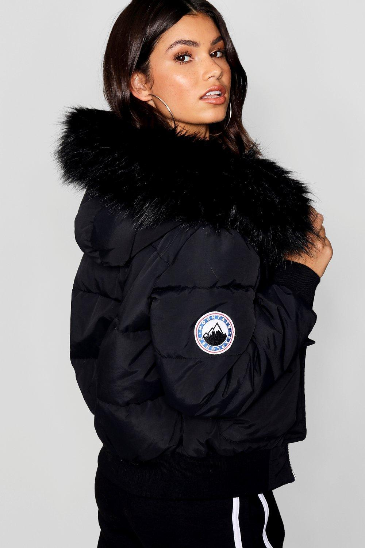 7cdff9e0cd1 Boohoo Black Faux Fur Hood Crop Puffer in Black - Lyst