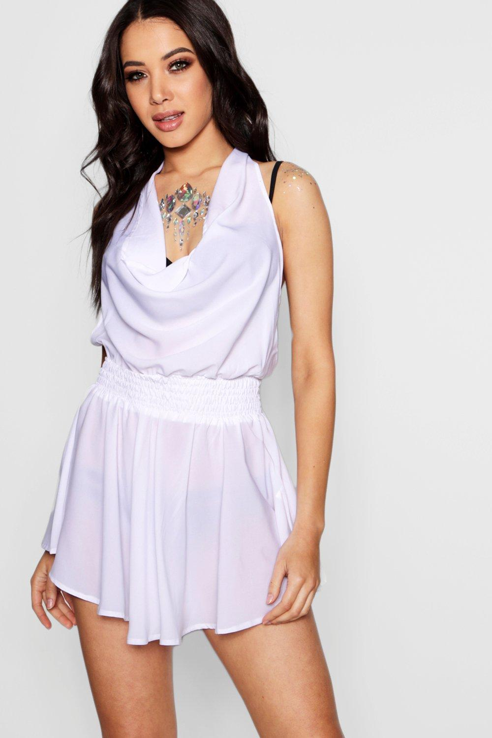 Boohoo Petite Ruched Waist Frill Halter Neck Beach Dress Wholesale Quality Great Deals Cheap Price HoLiW6