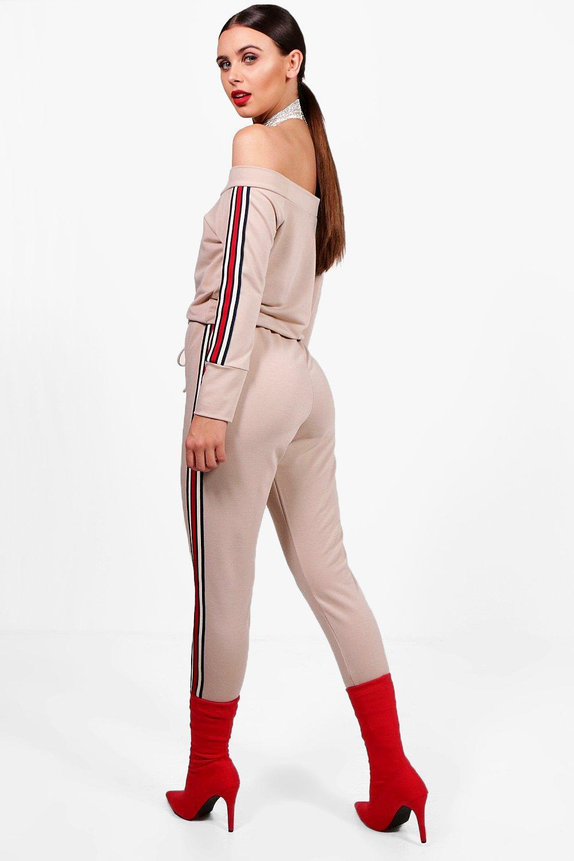 309e659cca8b Boohoo Petite Sports Trim Lounge Jumpsuit - Lyst