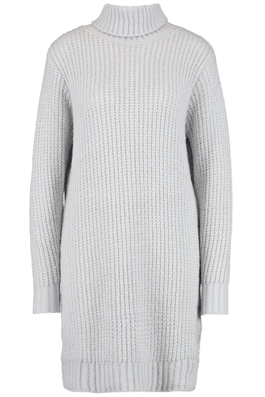 Lyst - Boohoo Tall Soft Knit Roll Neck Jumper Dress in Metallic 3ce34ba76