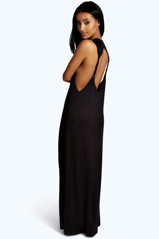b4a54d33ea1f Lyst - Boohoo Lola Twist Back Detail Maxi Dress in Black