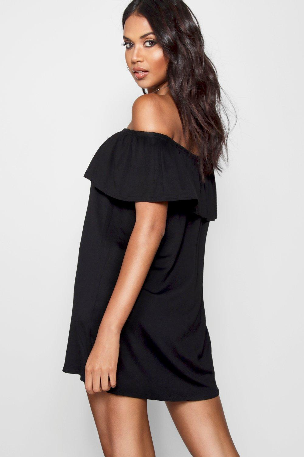 38500994a2dc Boohoo - Pink Off The Shoulder Swing Dress - Lyst. View fullscreen