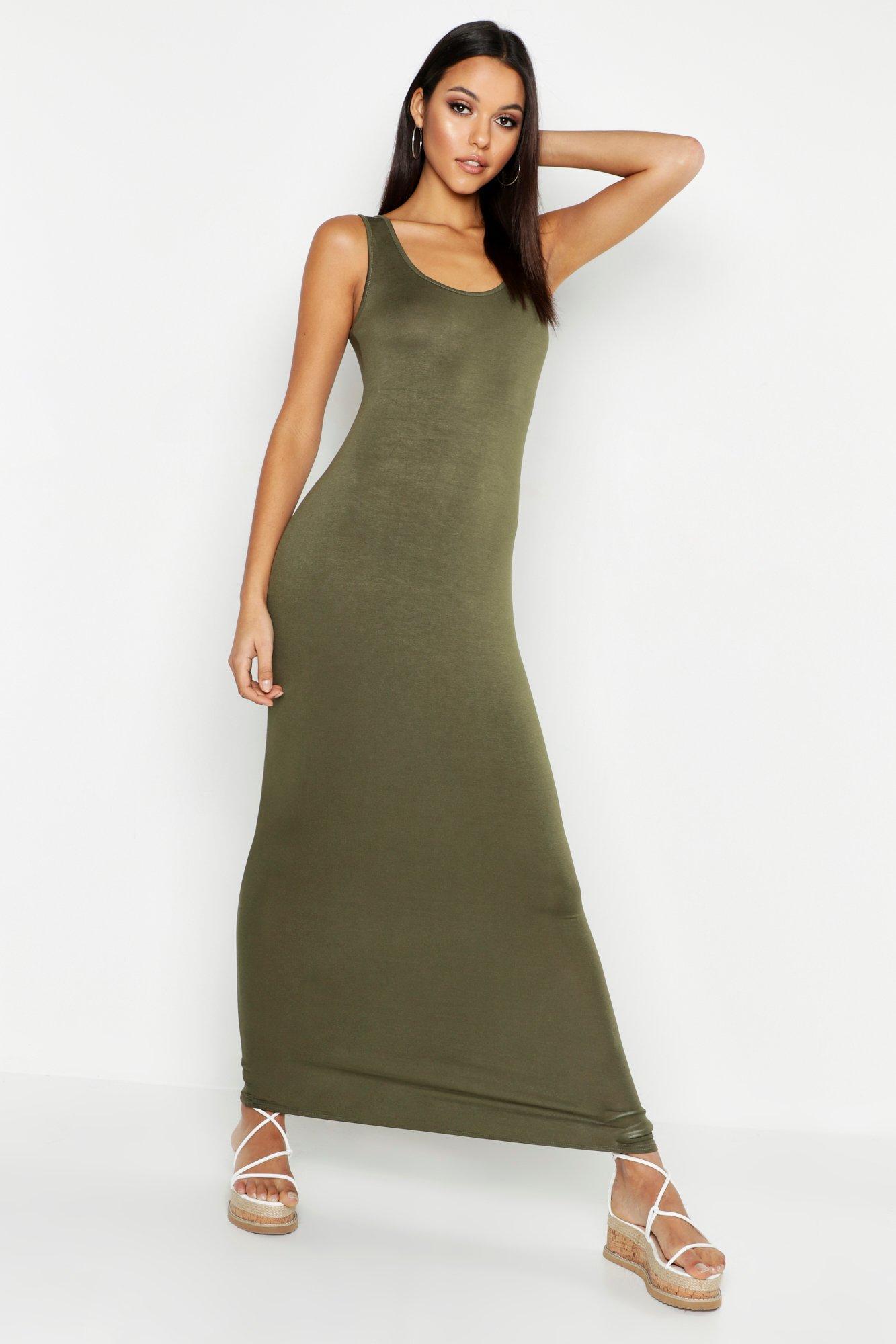 d1c2b2681569 Boohoo - Green Tall Basic Maxi Dress - Lyst. View fullscreen