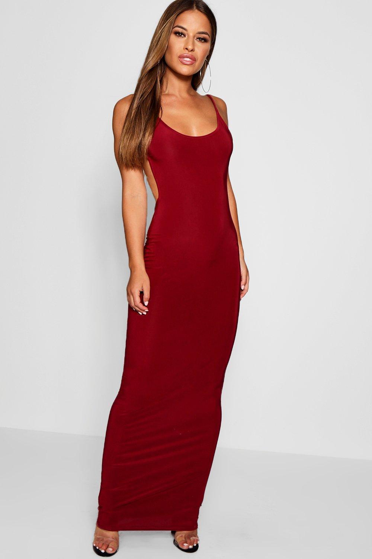 8c83068e75 Lyst - Boohoo Petite Sadie Skinny Open Back Maxi Dress in Red