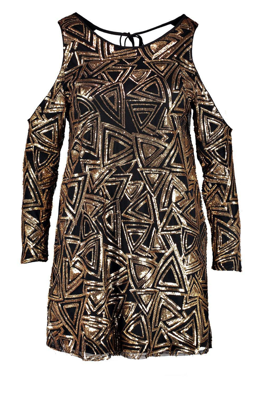 Sequin Shoulder Lyst Pattern Dress Boohoo Plus Open Cxqgwg8nUX