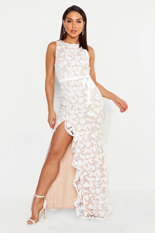 51865122a2f6b Lyst - Boohoo Lace Ruffle Split Maxi Dress in White