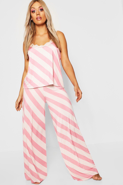 a25e8ece3d03 Boohoo Plus Gemma Collins Lace Trim Cami Pj Set in Pink - Lyst