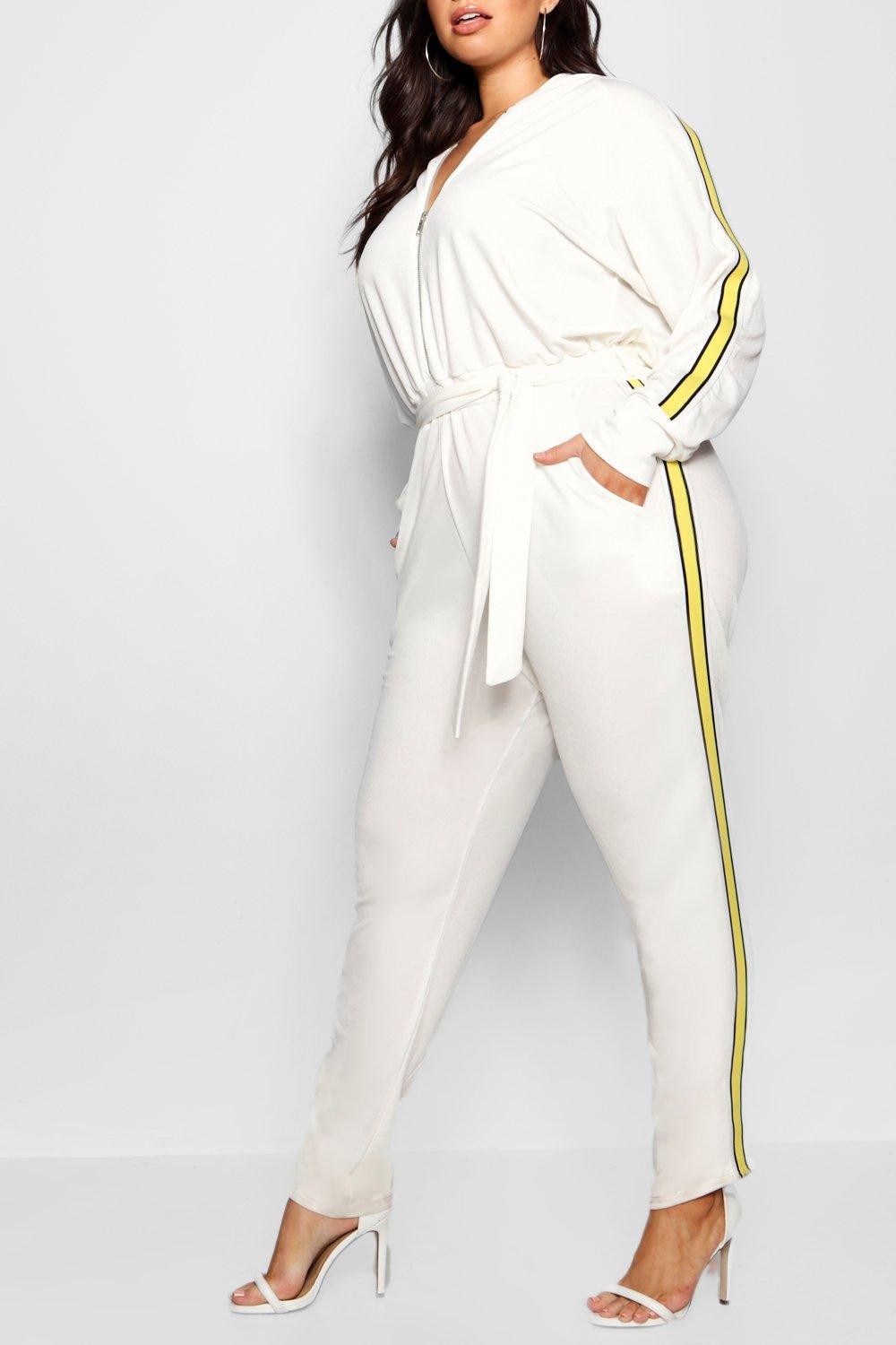 58dc2e817c8 Boohoo Side Stripe Hooded Jumpsuit in White - Lyst