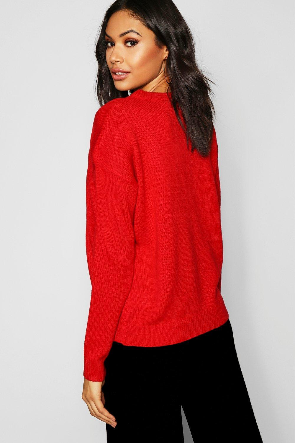 28c7b72ca4a6f Boohoo - Red Penguin Applique Sweater With Pom Pom - Lyst. View fullscreen