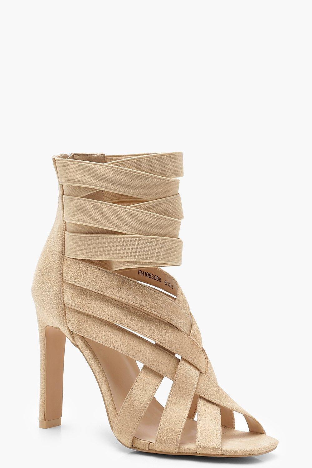 24bed33de2e Lyst - Boohoo Cross Strap Cage Sandals in Natural