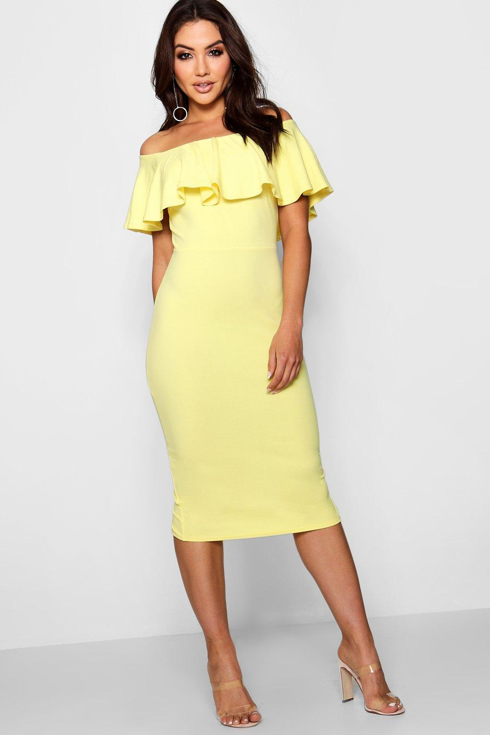 64e6a7c827089 Gallery. Previously sold at: Boohoo · Women's Midi Dresses Women's Off The Shoulder  Dresses Women's Yellow ...
