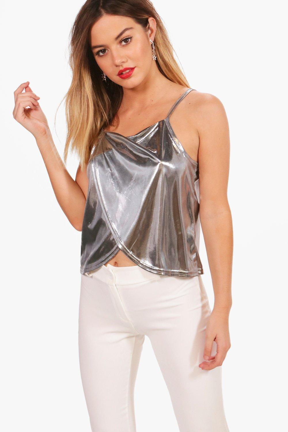 18a252495937 Lyst - Boohoo Petite Foil Wrap Front Cami Top in Metallic