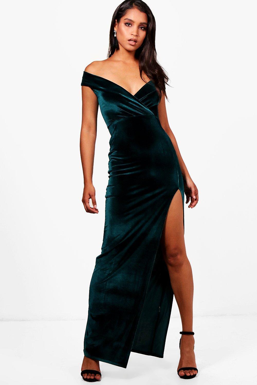 d38cecb31a30 Lyst - Boohoo Rhea Velvet Off The Shoulder Maxi Dress in Green