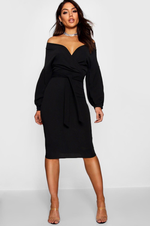 13d5b22e1e698 Boohoo Nina Off The Shoulder Wrap Midi Bodycon Dress - Photo Dress ...
