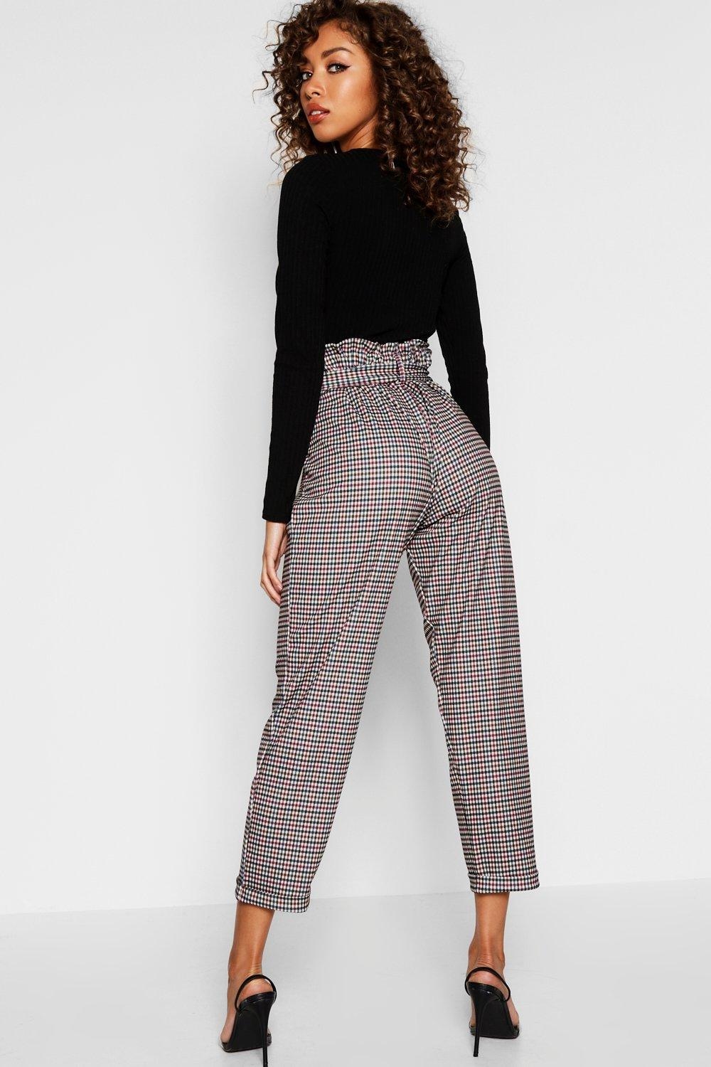 eefdd81d69ba5 Boohoo - Multicolor Heritage Check Belted Tapered Trouser - Lyst. View  fullscreen