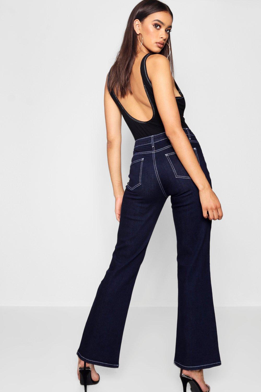 8a7469a6e2ae Boohoo - Blue High Waist Contrast Stitch Straight Leg Jeans - Lyst. View  fullscreen