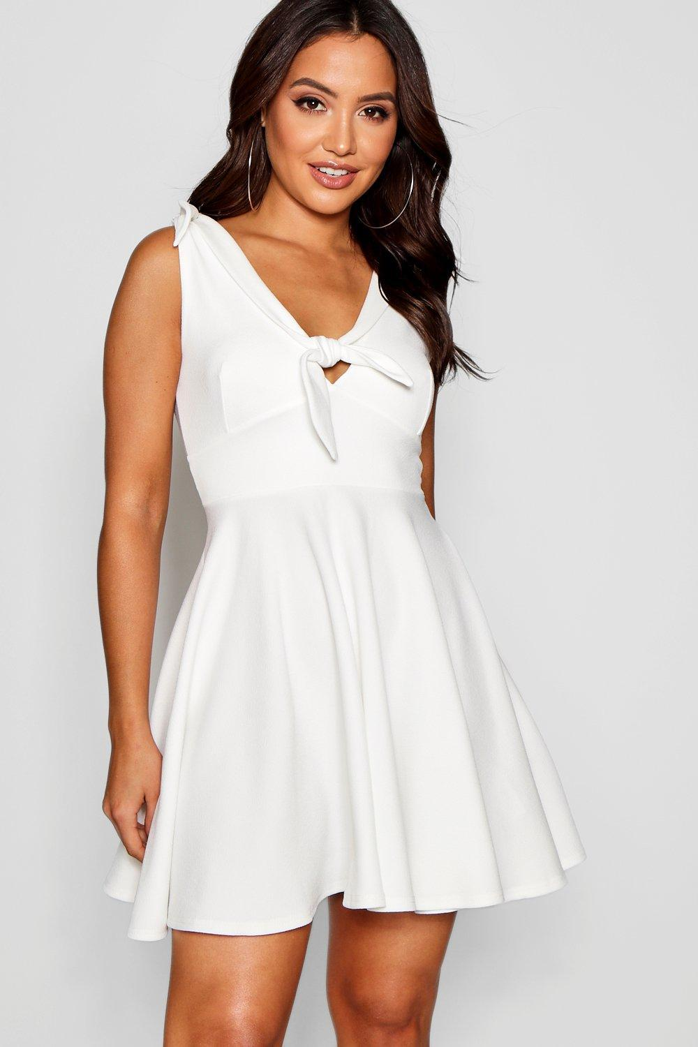 Lyst - Boohoo Knot Front Skater Dress in White d14235ace