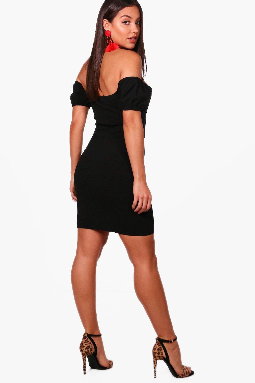 86305c0d93 Lyst - Boohoo V Bar Off The Shoulder Midi Dress in Black